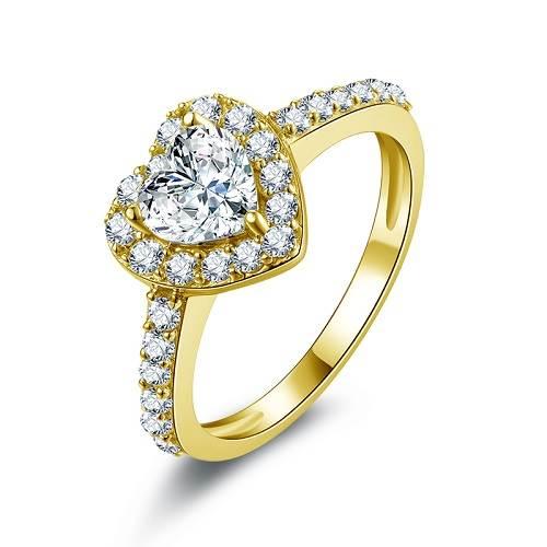 bague or diamant coeur